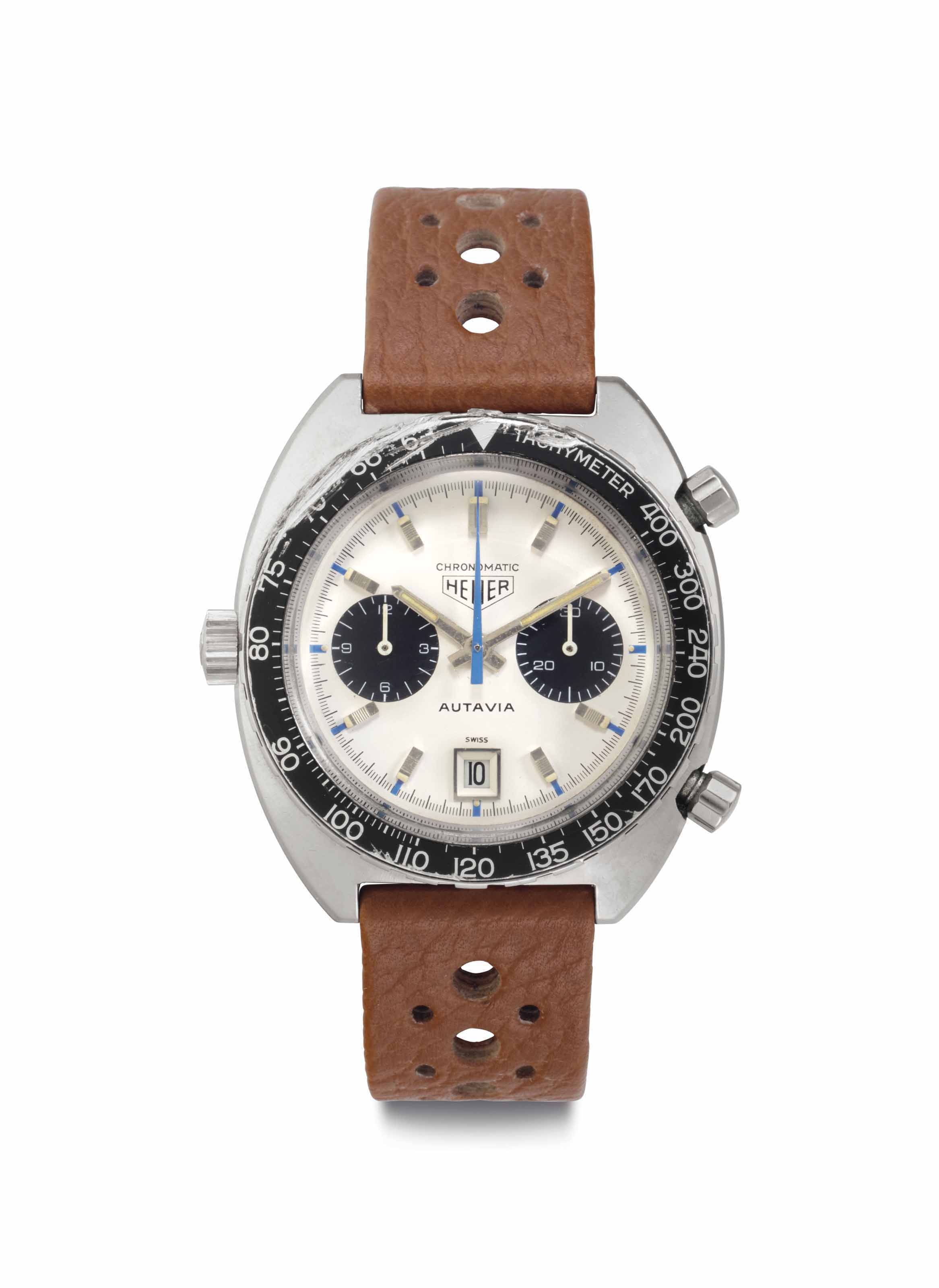 "Heuer. An Extremely Rare Stainless Steel Automatic Chronograph Wristwatch with Date and ""Jo Siffert"" Dial"