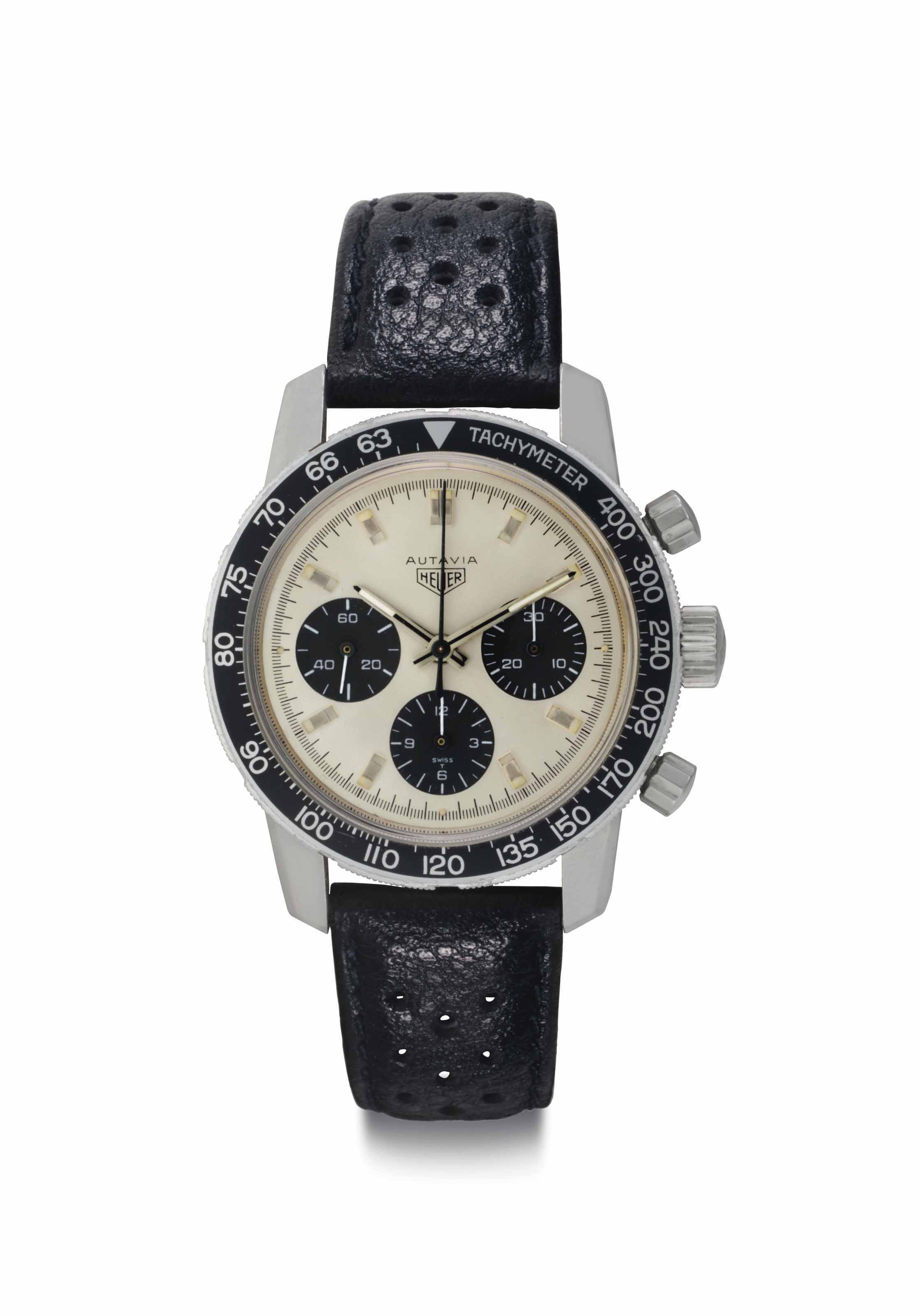 Heuer. A Fine Stainless Steel Chronograph Wristwatch