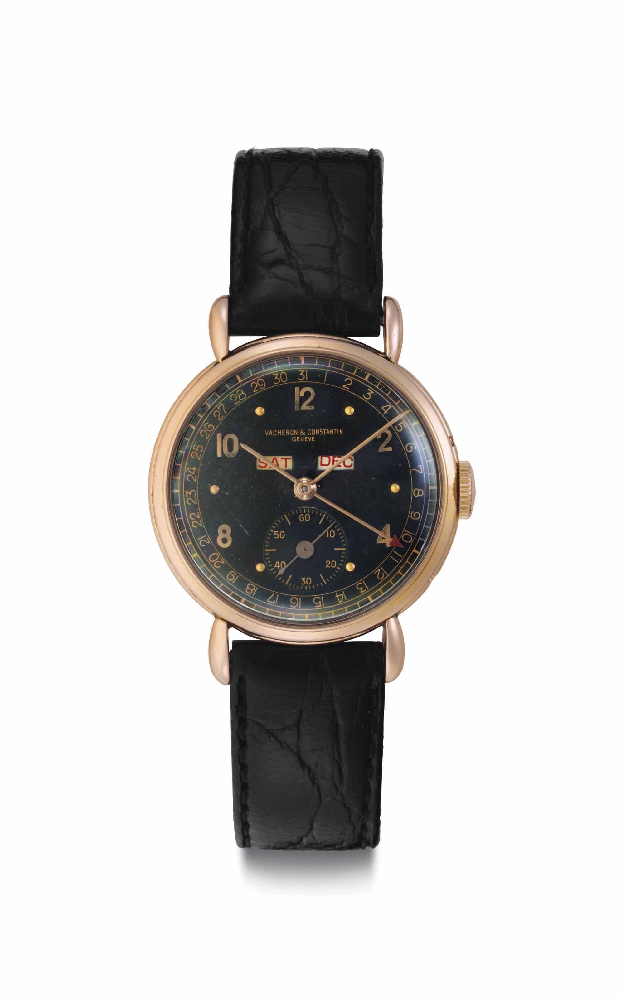 Vacheron Constantin. A Fine and Rare 18k Pink Gold Triple Calendar Wristwatch with Black Dial