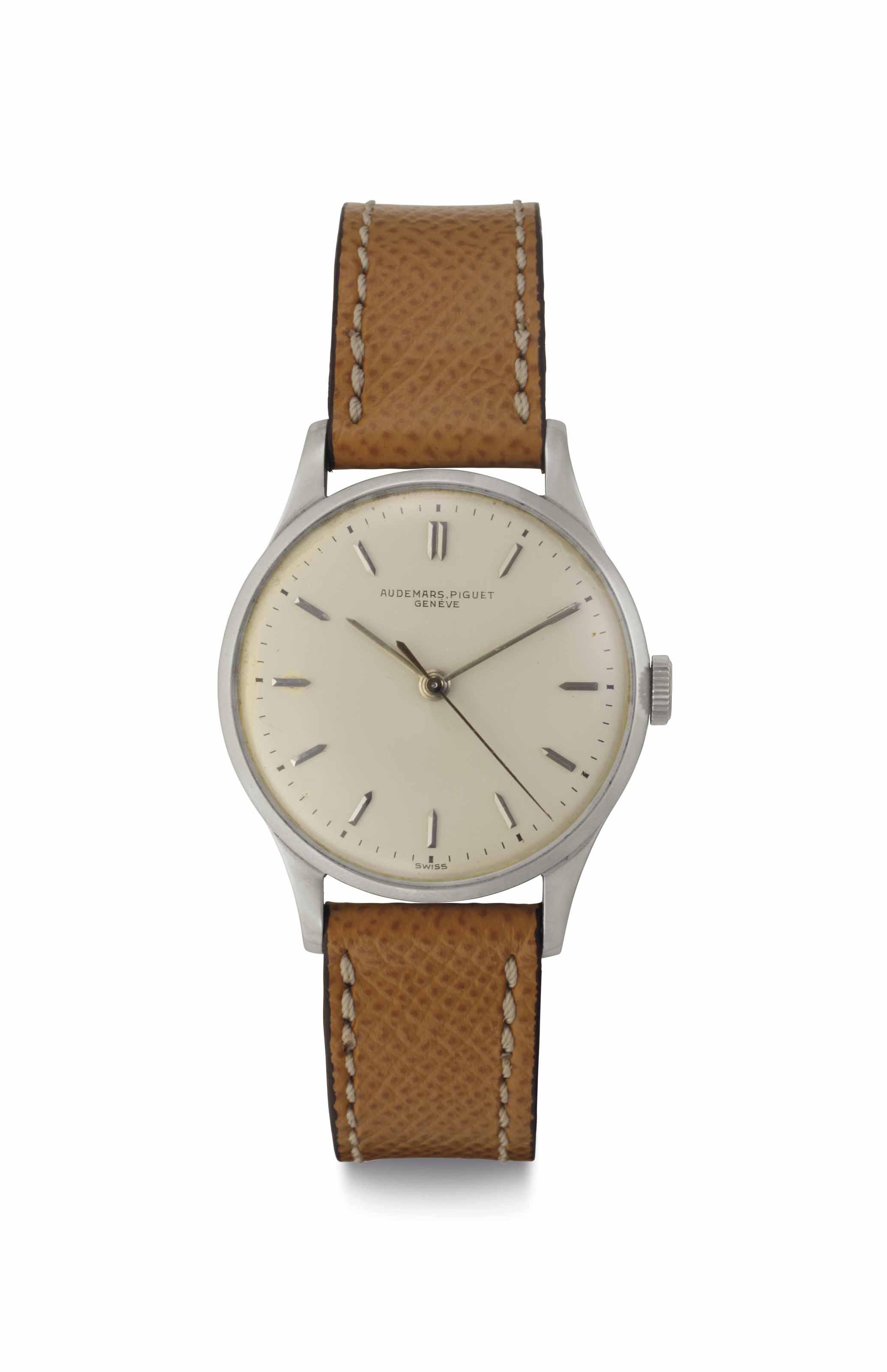 Audemars Piguet. A Fine Stainless Steel Wristwatch with Center Seconds