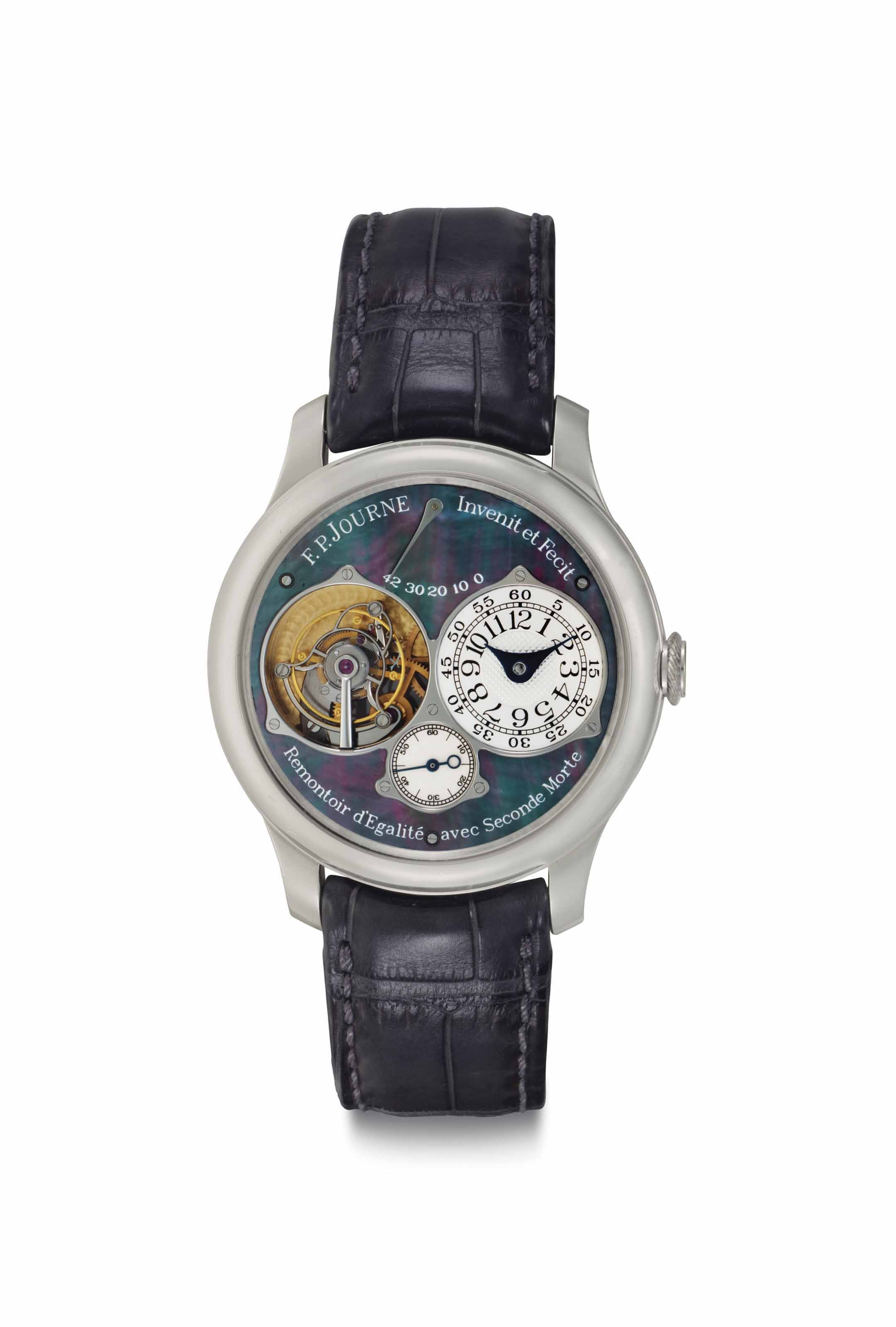 F.P.Journe. A Very Rare Platinum Limited Edition Tourbillon Wristwatch with Constant Force Remontoir, Power Reserve, Dead Beat Second and Black Mother-of-Pearl Dial