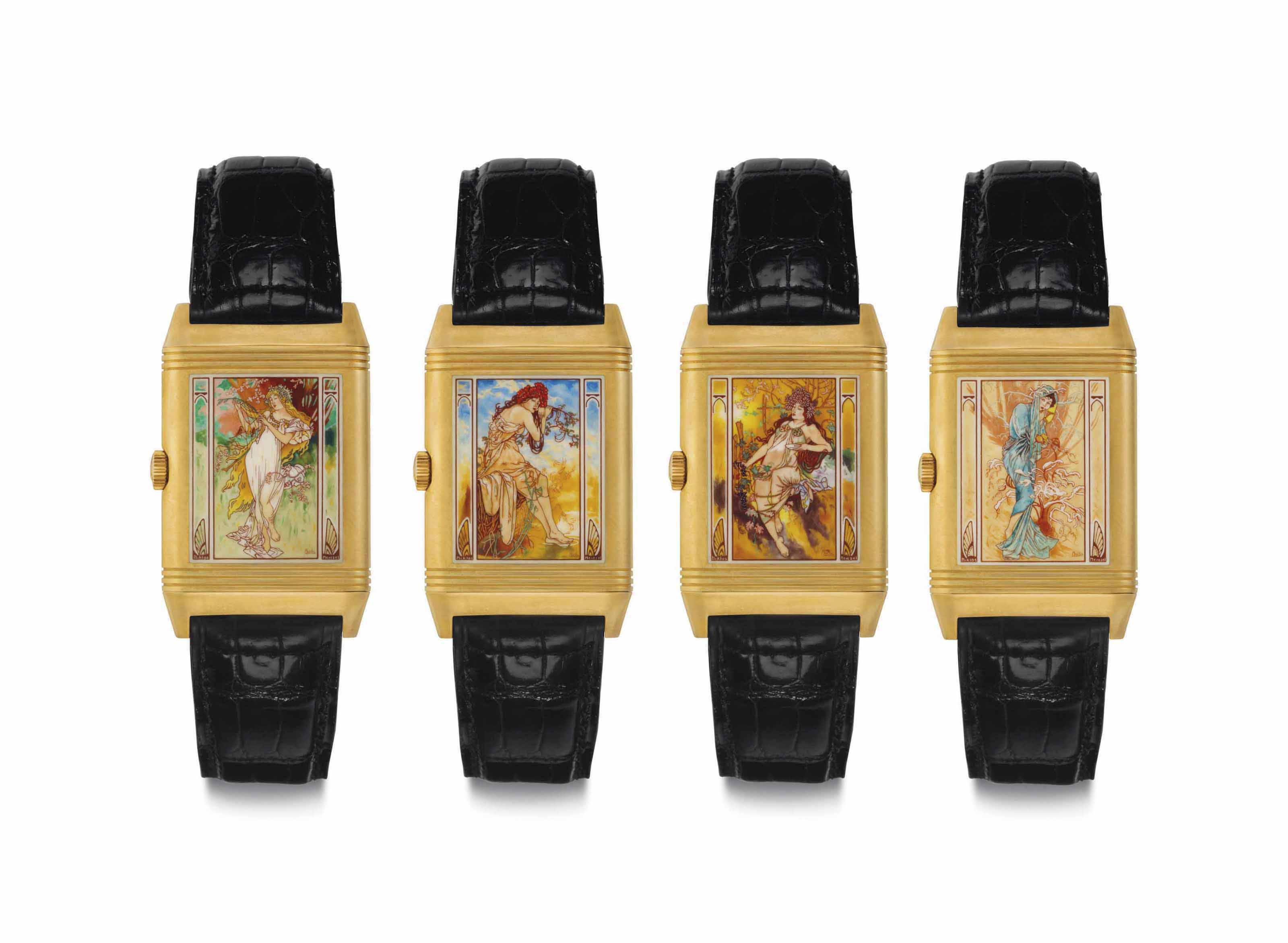 90e7b390964d A Fine and Very Rare Limited Edition 18k Gold and Enamel Set of Four  Rectangular-shaped Wristwatches Depicting the Four Seasons
