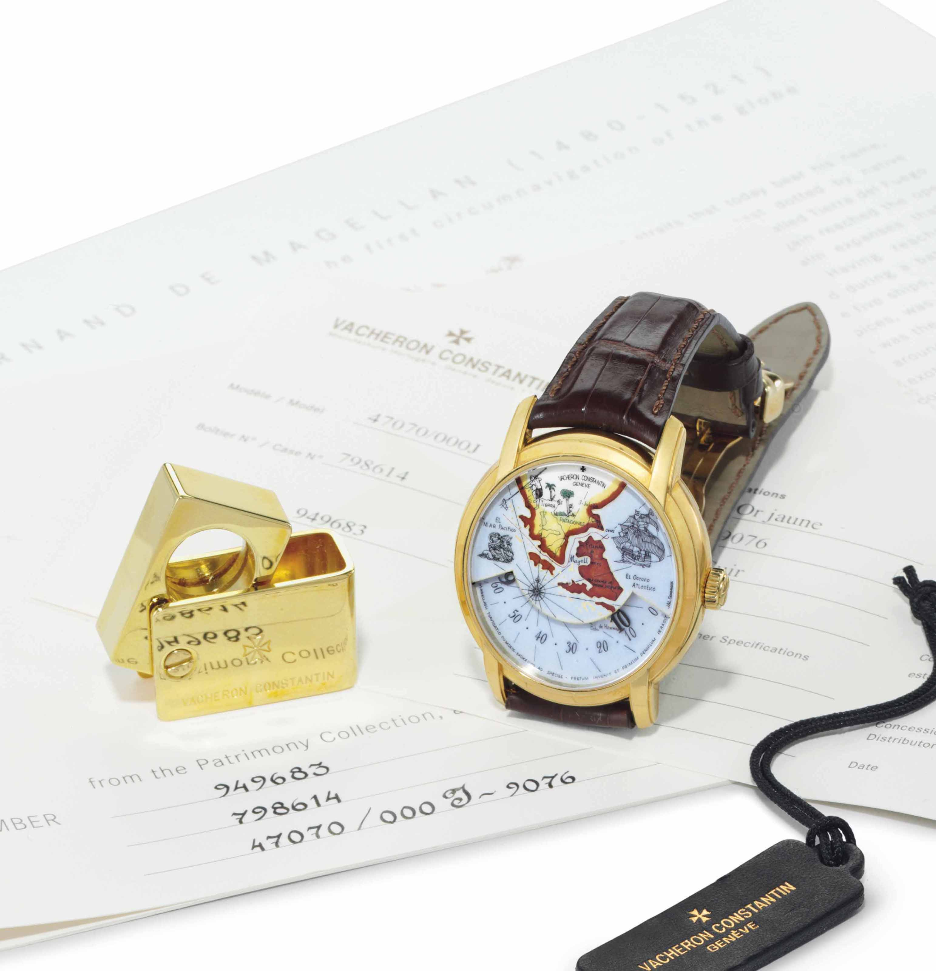 Vacheron Constantin. A Fine 18k Gold Limited Edition Automatic Wristwatch with Geographic Enamel Dial, Wandering Hours and Power Reserve