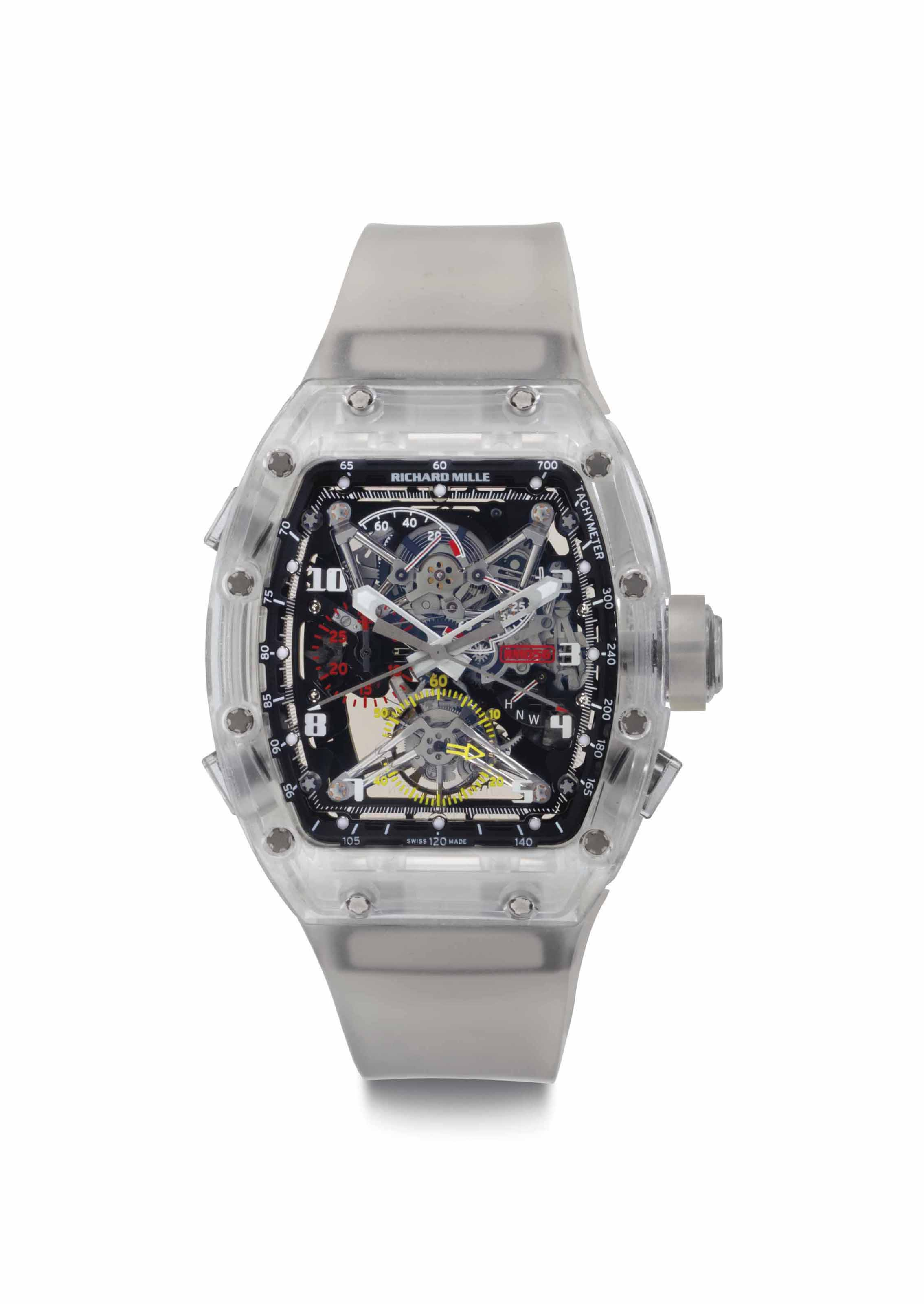 Richard Mille. An Extremely Fine and Very Rare Sapphire Split-Seconds Chronograph Wristwatch with Tourbillon and Power Reserve