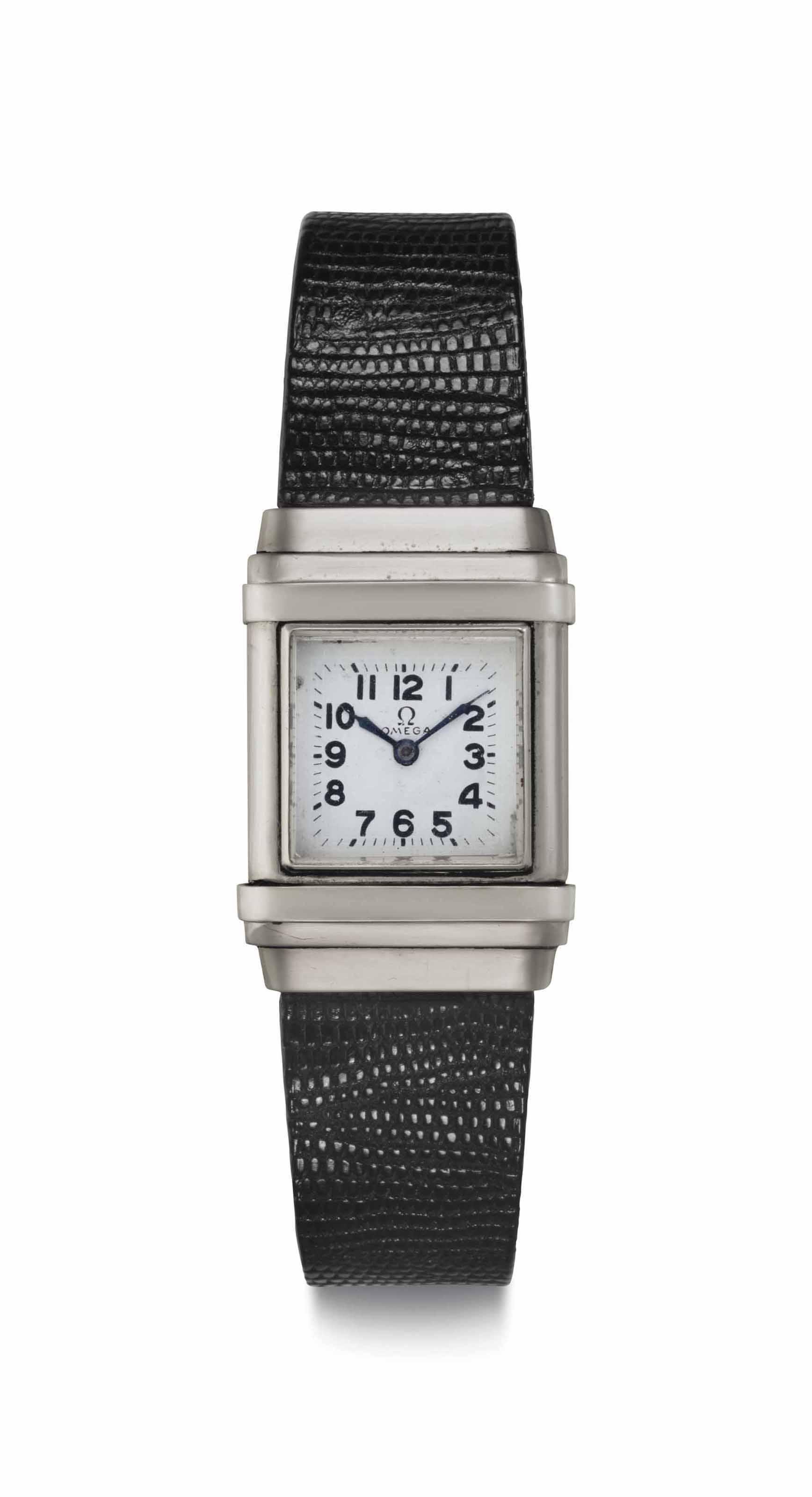 Omega. A Rare Stainless Steel Rectangular-shaped Marine Wristwatch