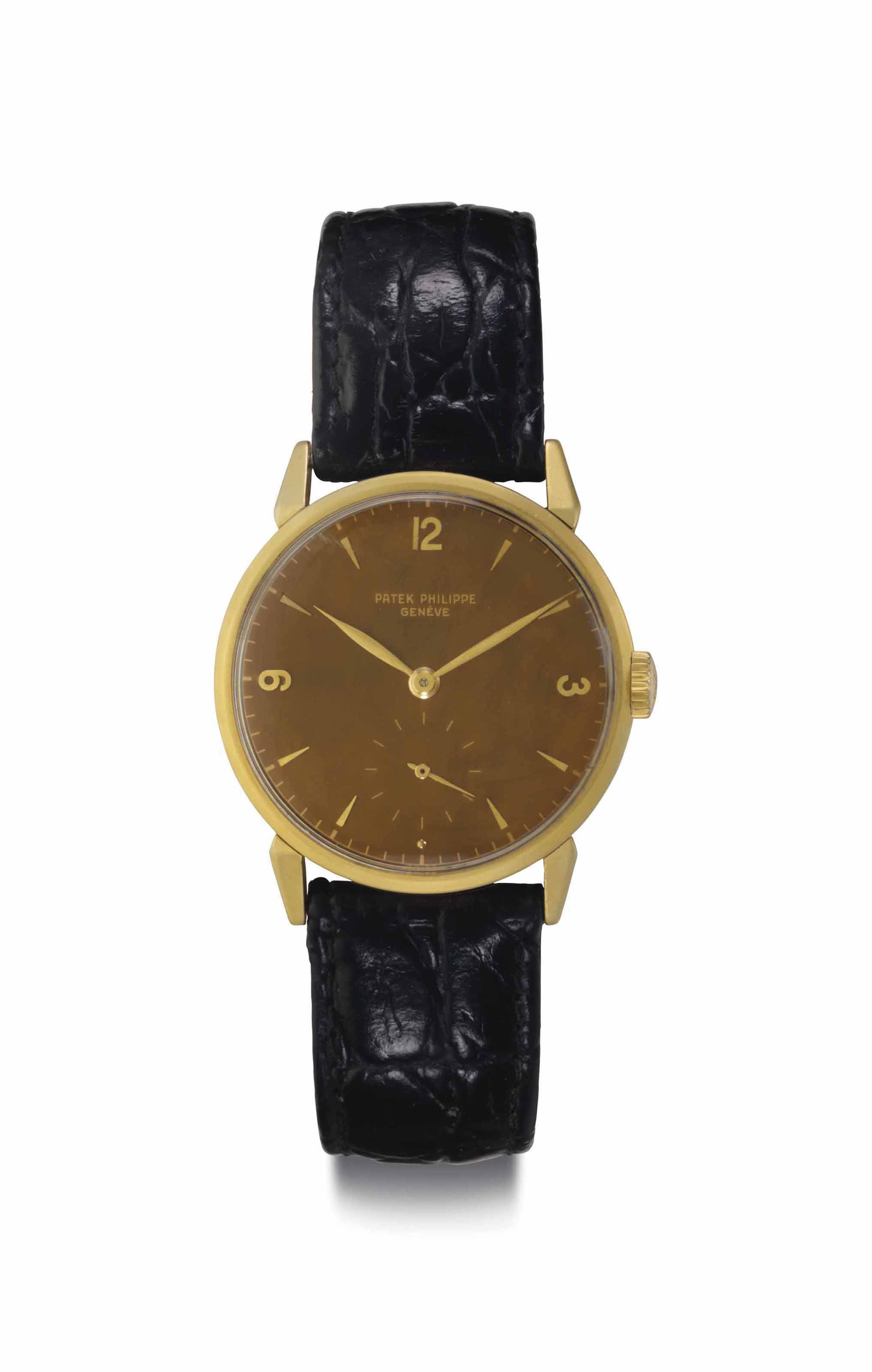 Patek Philippe. A Fine and Very Attractive 18k Gold Wristwatch With Unusual Dial, Belonging to a Long-Time Employee of General Motors