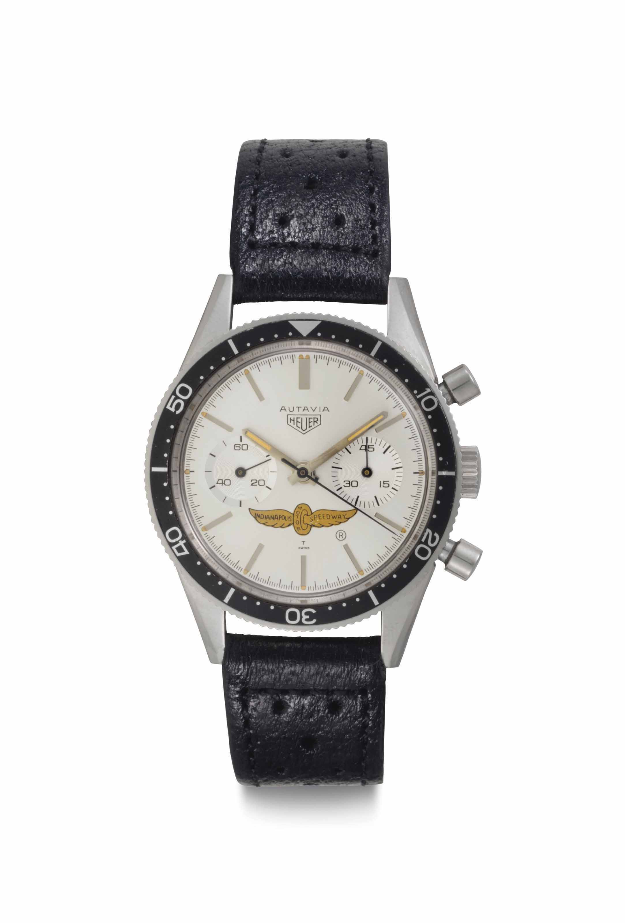 Heuer. A Very Fine and Extremely Rare Stainless Steel Chronograph Wristwatch with Center Seconds with Indianapolis Motor Speedway Logo Dial