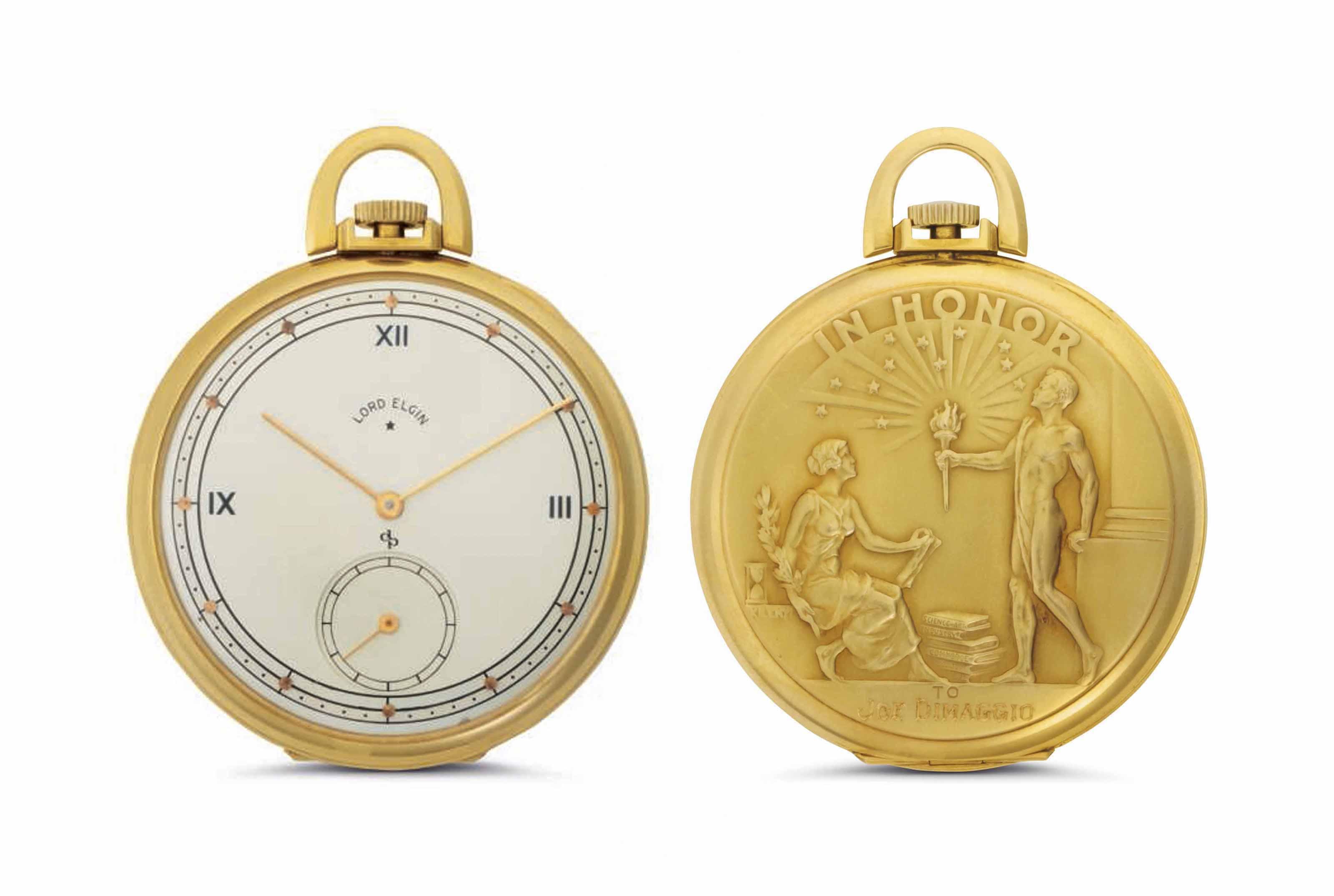 Elgin. A Fine 18k Gold Openface Pocket Watch, Belonging to American Major League Baseball Legend Joe DiMaggio
