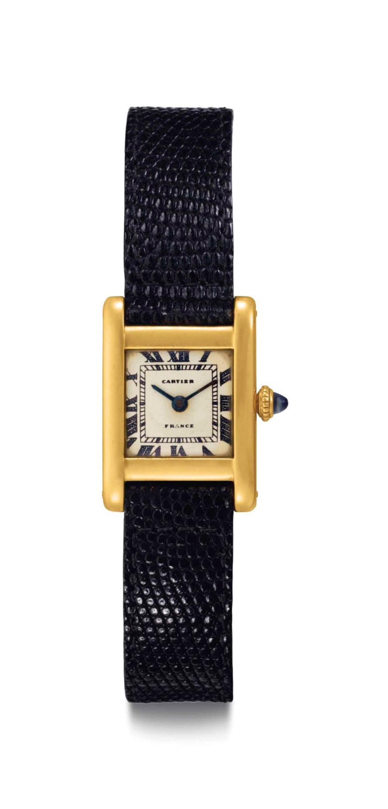 Cartier. A fine and historically important 18k gold square-shaped wristwatch, belonging to Jacqueline Kennedy Onassis. Signed Cartier, Tank Model, movement no. 2117860, case no. 44374, manufactured in 1962. Sold for $379,500 on 21 June 2017 at Christie's in New York