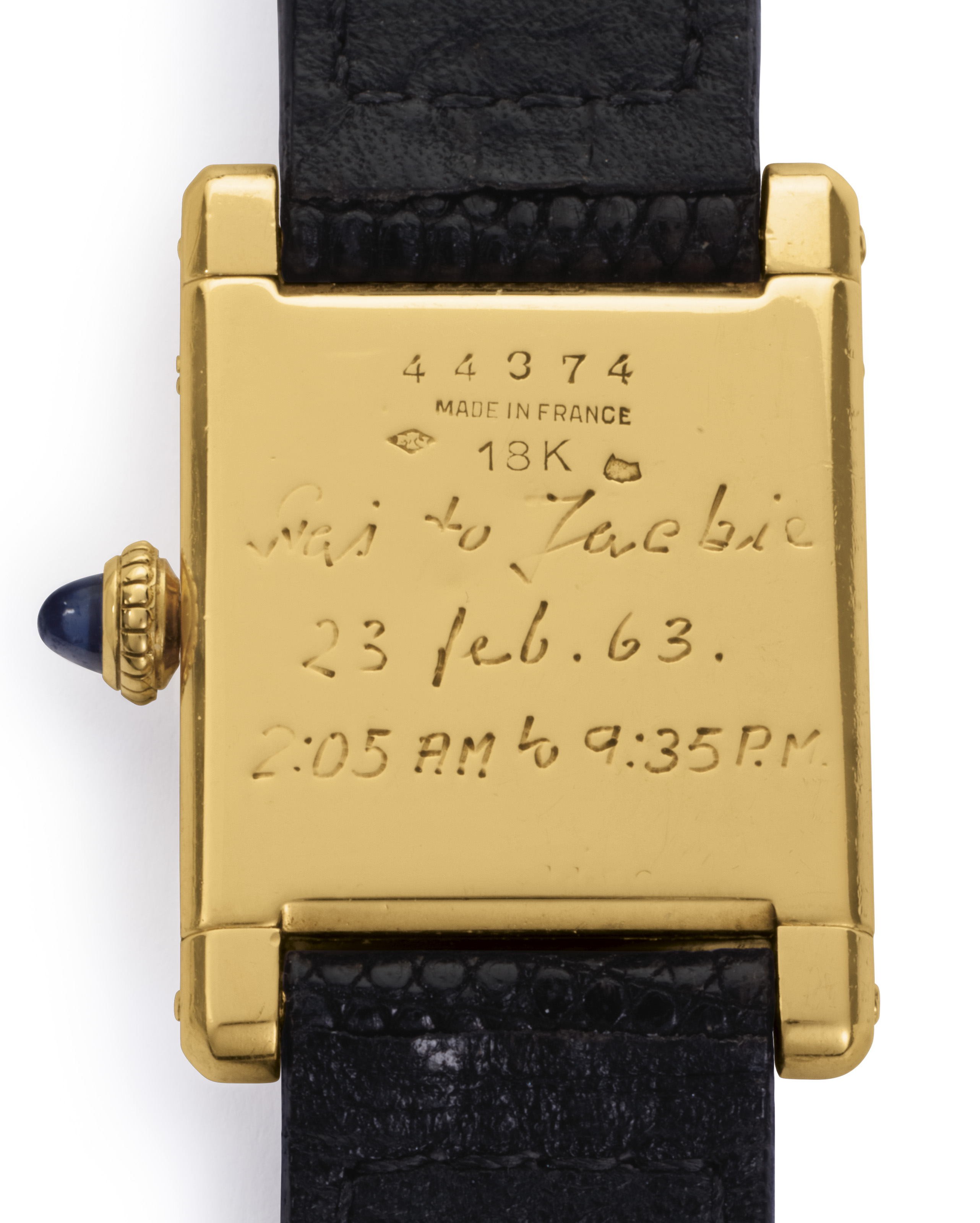 Cartier. A Fine and Historically Important 18k Gold Square-shaped Wristwatch, Belonging to Jacqueline Kennedy Onassis, and an Original Painting by Jacqueline Kennedy Onassis