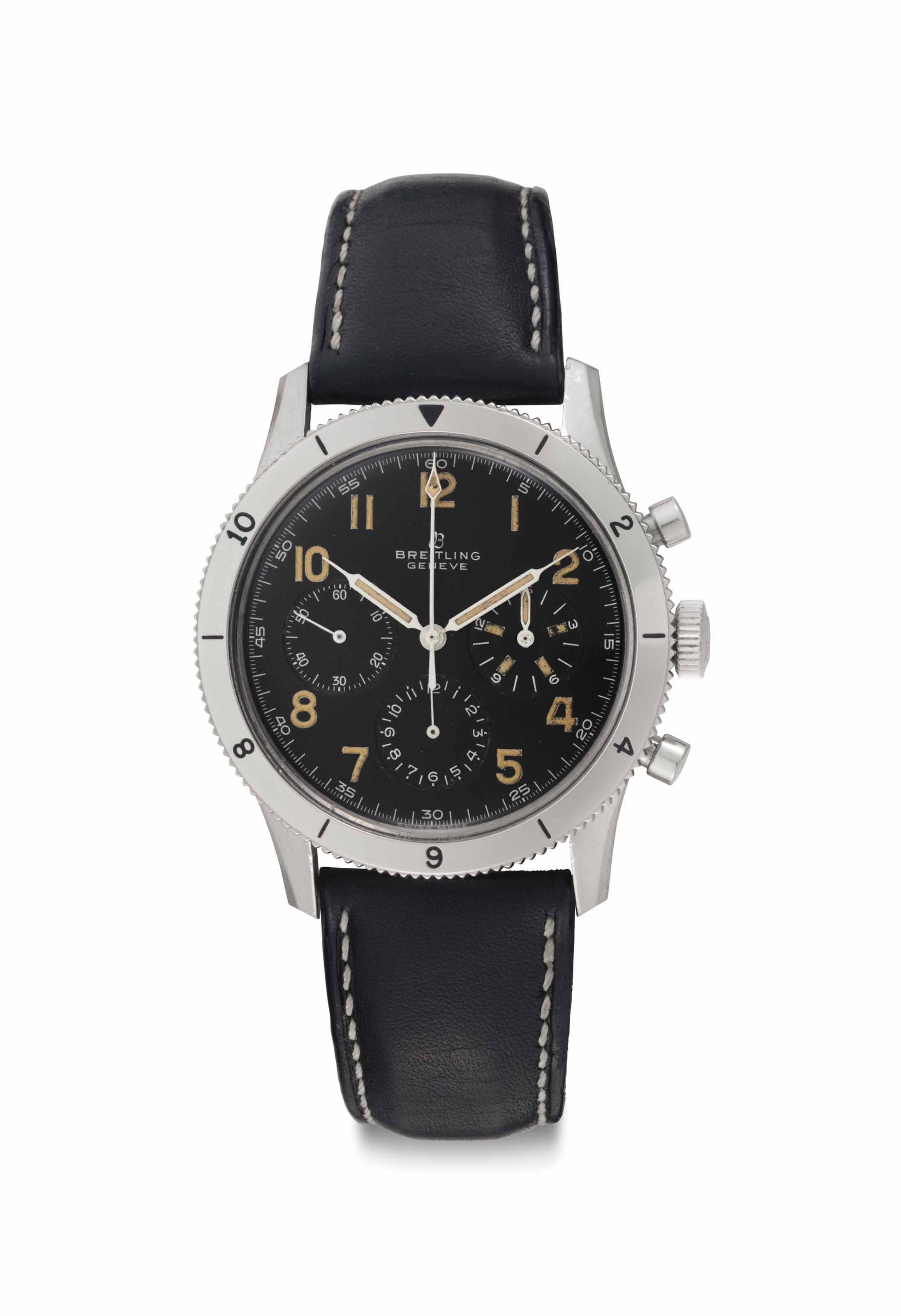 Breitling. A Large Stainless Steel Chronograph Wristwatch with Black Dial