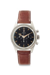 Omega. A Very Fine and Rare Stainless Steel Chronograph Wristwatch