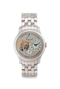 F.P.Journe. A Very Fine and Rare Platinum Tourbillon Wristwatch with Constant Force Remontoir, Power Reserve, Dead Beat Second and Bracelet