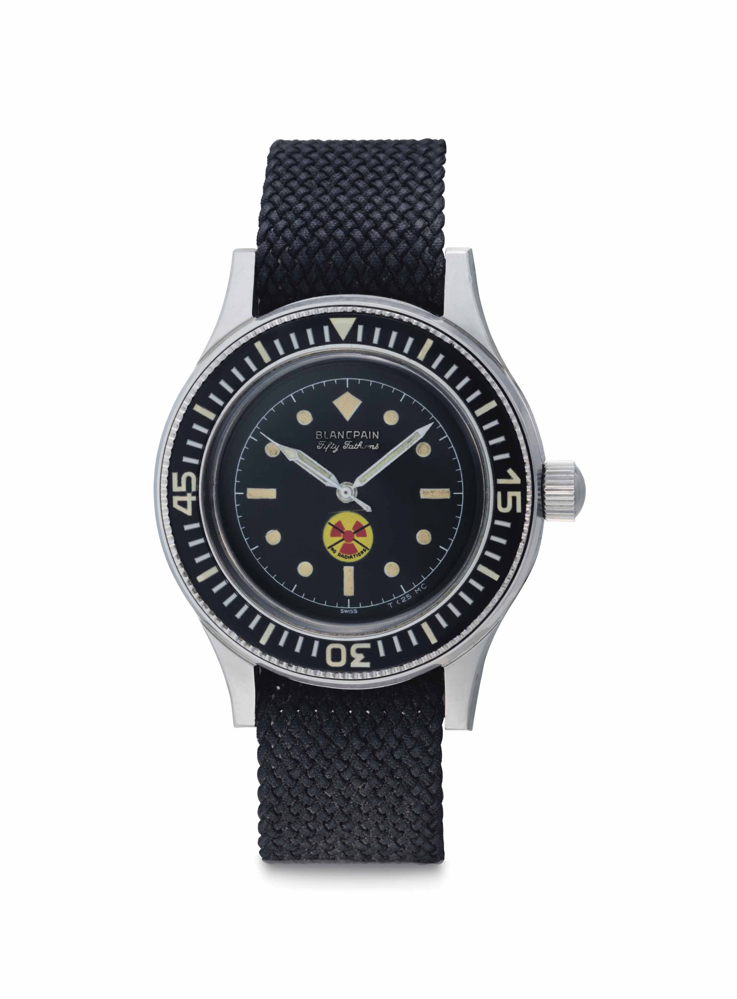 Blancpain. A Rare Stainless Steel Automatic Anti-Magnetic Diver's Wristwatch with Center Seconds, Made for the German Military