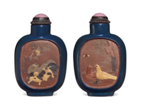 A SLIP-DECORATED AND ENAMELED STONEWARE SNUFF BOTTLE