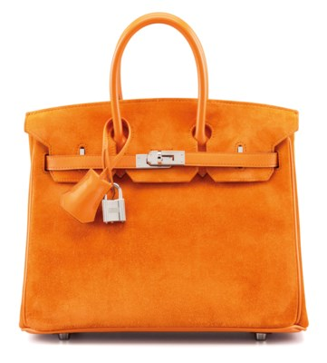 AN ORANGE H CALF BOX LEATHER AND VEAU DOBLIS BIRKIN 25 WITH PALLADIUM HARDWARE