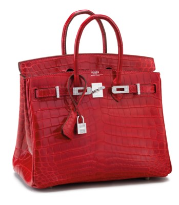 AN EXCEPTIONAL, SHINY BRAISE NILOTICUS CROCODILE DIAMOND BIRKIN 25 WITH 18K WHITE GOLD & DIAMOND HARDWARE