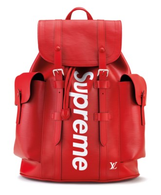 47ced87168b4 A RED   WHITE EPI LEATHER CHRISTOPHER BACKPACK WITH SILVER HARDWARE BY  SUPREME