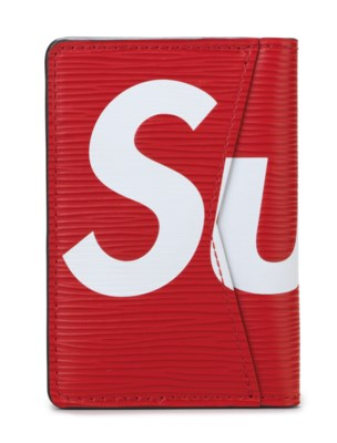 A RED & WHITE EPI LEATHER BILL FOLD CARD CASE BY SUPREME