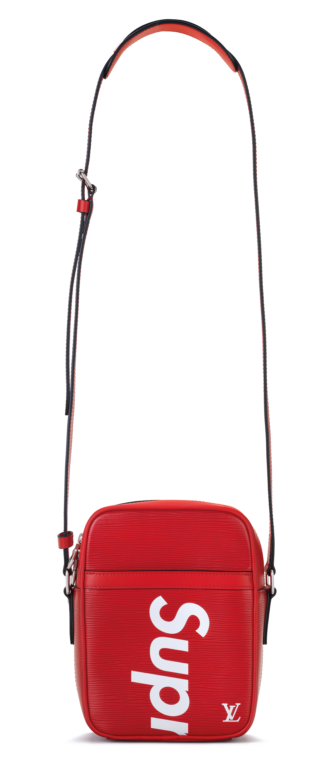 A RED & WHITE EPI LEATHER SUPREME DANUBE CROSSBODY WITH SILVER HARDWARE BY SUPREME