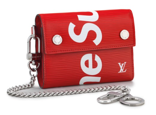 A RED & WHITE EPI LEATHER CHAIN WALLET WITH SILVER HARDWARE BY SUPREME