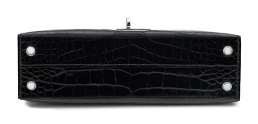A SHINY BLACK ALLIGATOR SELLIER MINI KELLY 20 II WITH PALLADIUM HARDWARE