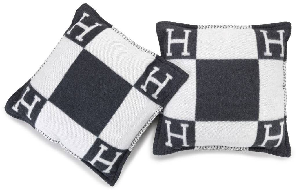 SET OF TWO GREY AND BLACK, WOOL AND CASHMERE AVALON PILLOWS MM