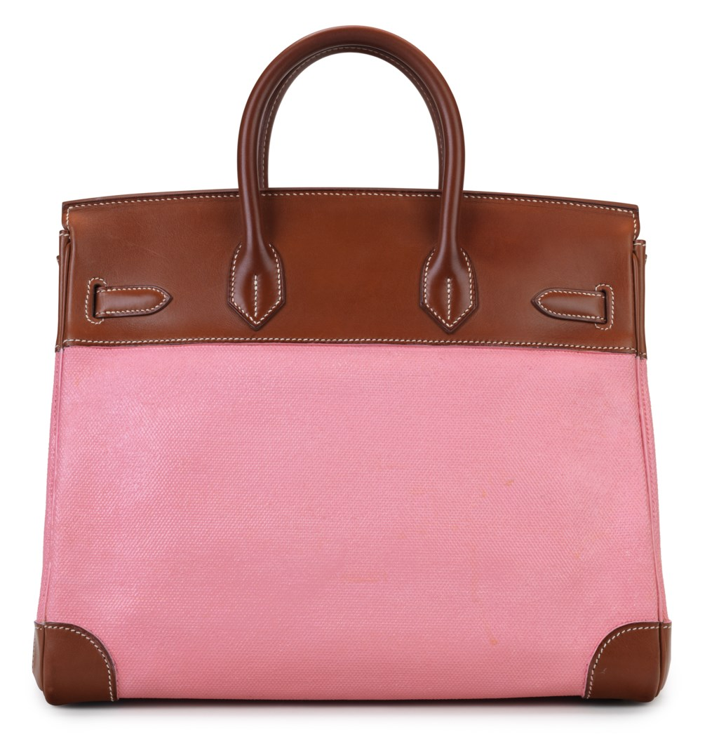 A CUSTOMIZED BARENIA LEATHER & CANVAS HAC BIRKIN 32 WITH GOLD HARDWARE