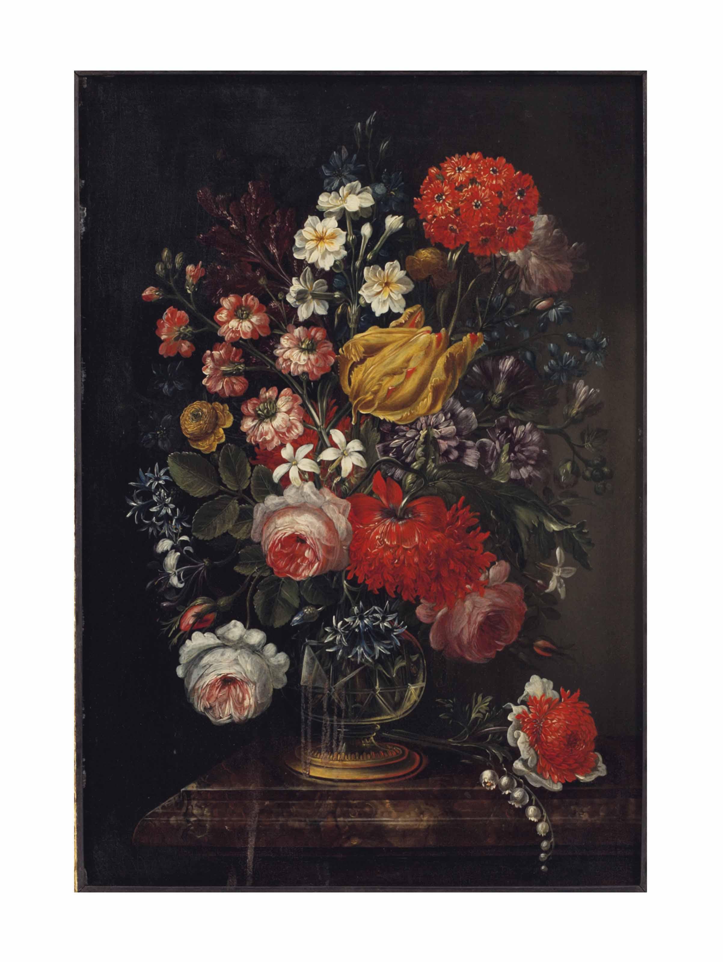 Flowers in crystal vases (a pair)