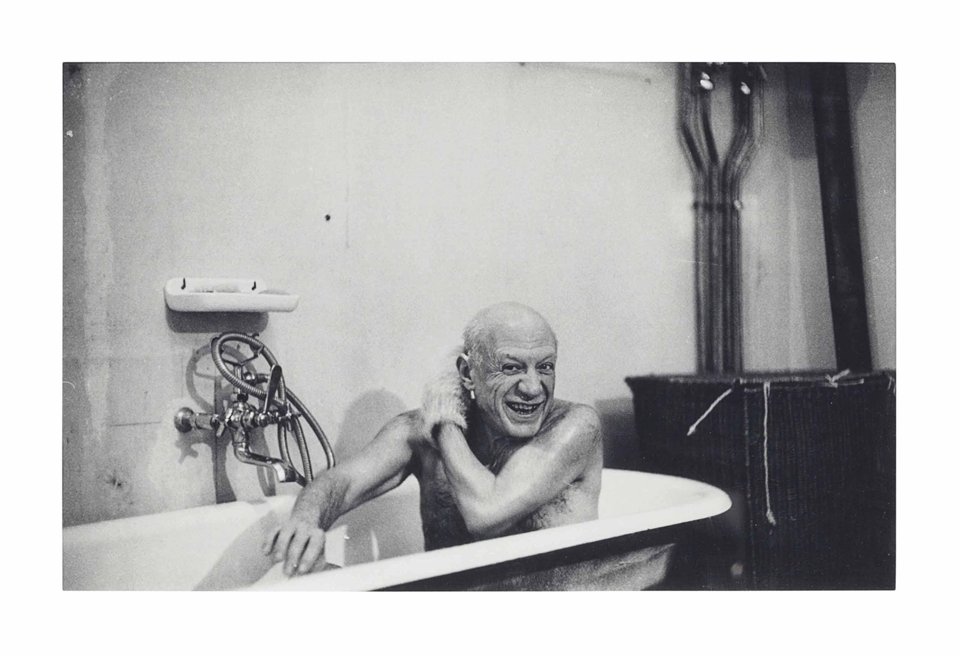 Picasso in bathtub, Villa La Californie, Cannes, 8 February 1956