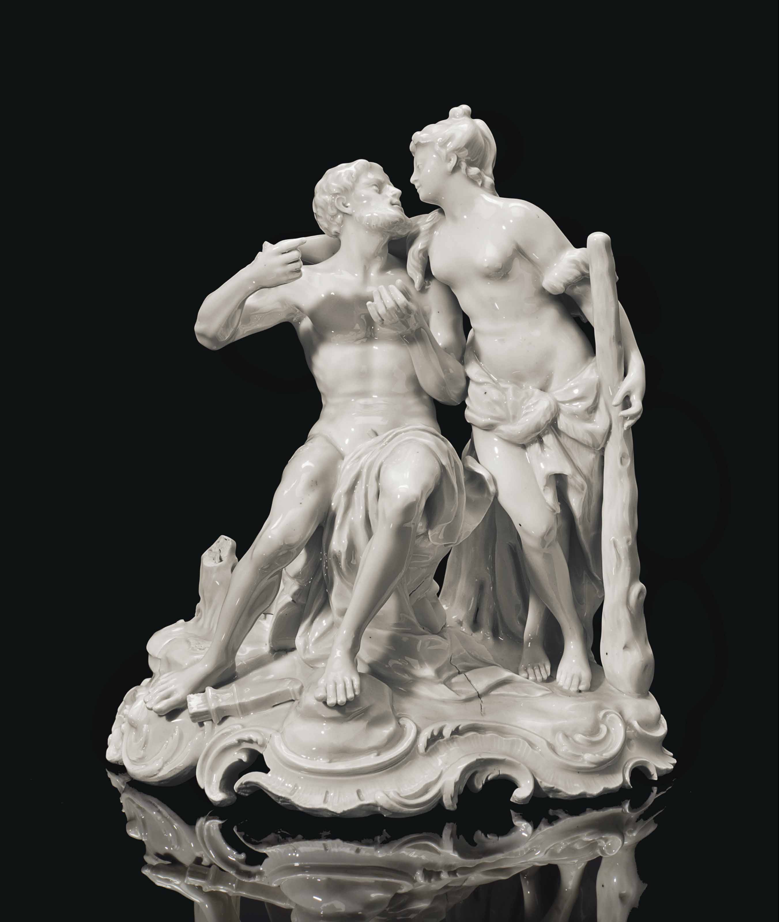 A LUDWIGSBURG PORCELAIN WHITE-GLAZED FIGURE GROUP OF HERCULES AND OMPHALE