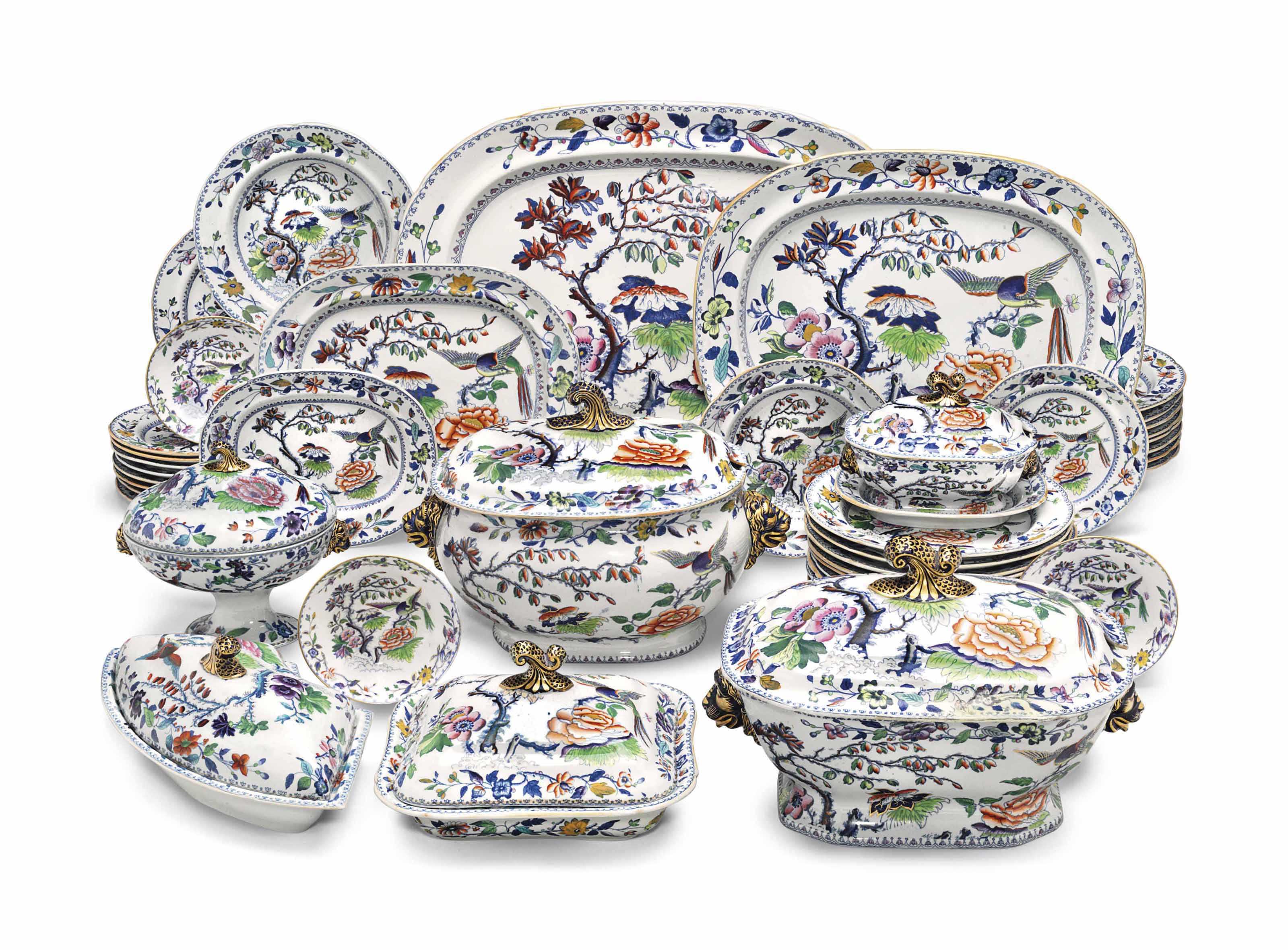 A DAVENPORT STONE CHINA IMARI PATTERN PART DINNER AND DESSERT SERVICE