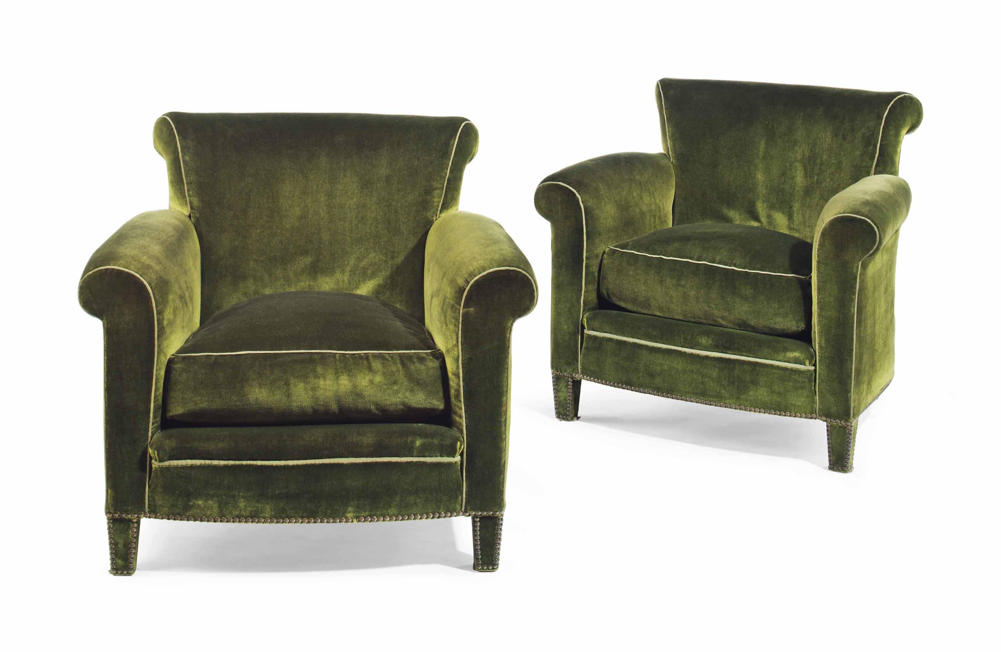 A Pair Of Green Velvet Upholst