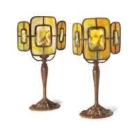 TWO TURTLEBACK TILE DESK LAMPS