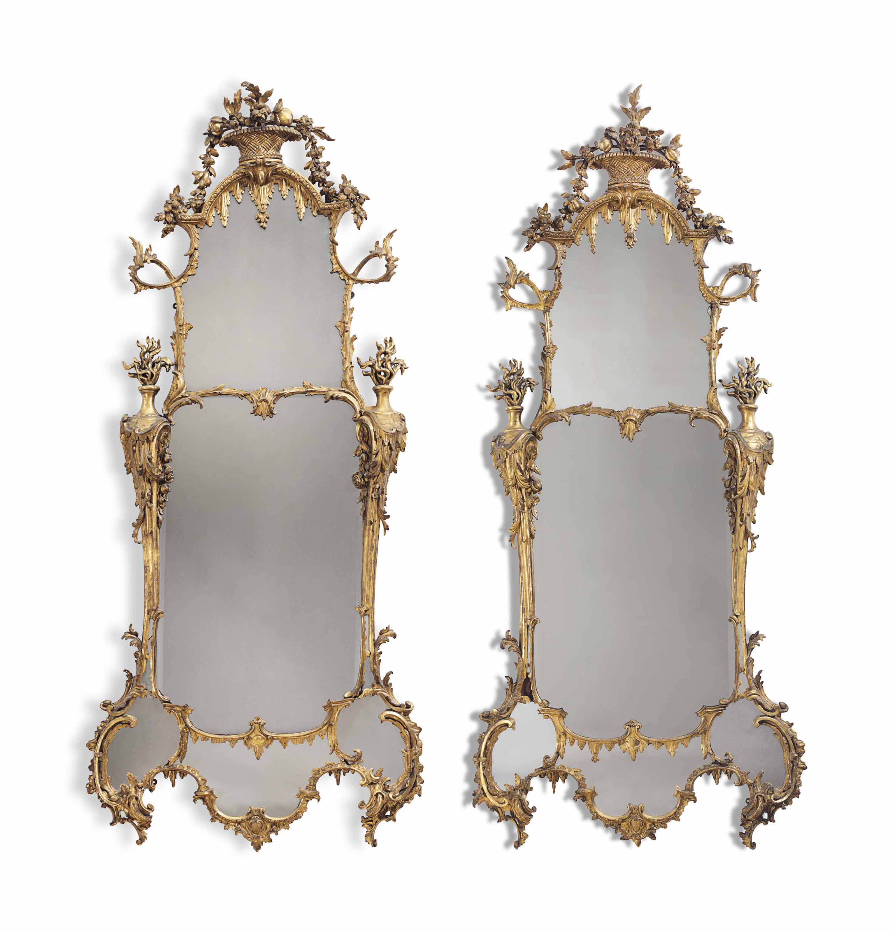 A PAIR OF GEORGE II GILTWOOD PIER MIRRORS