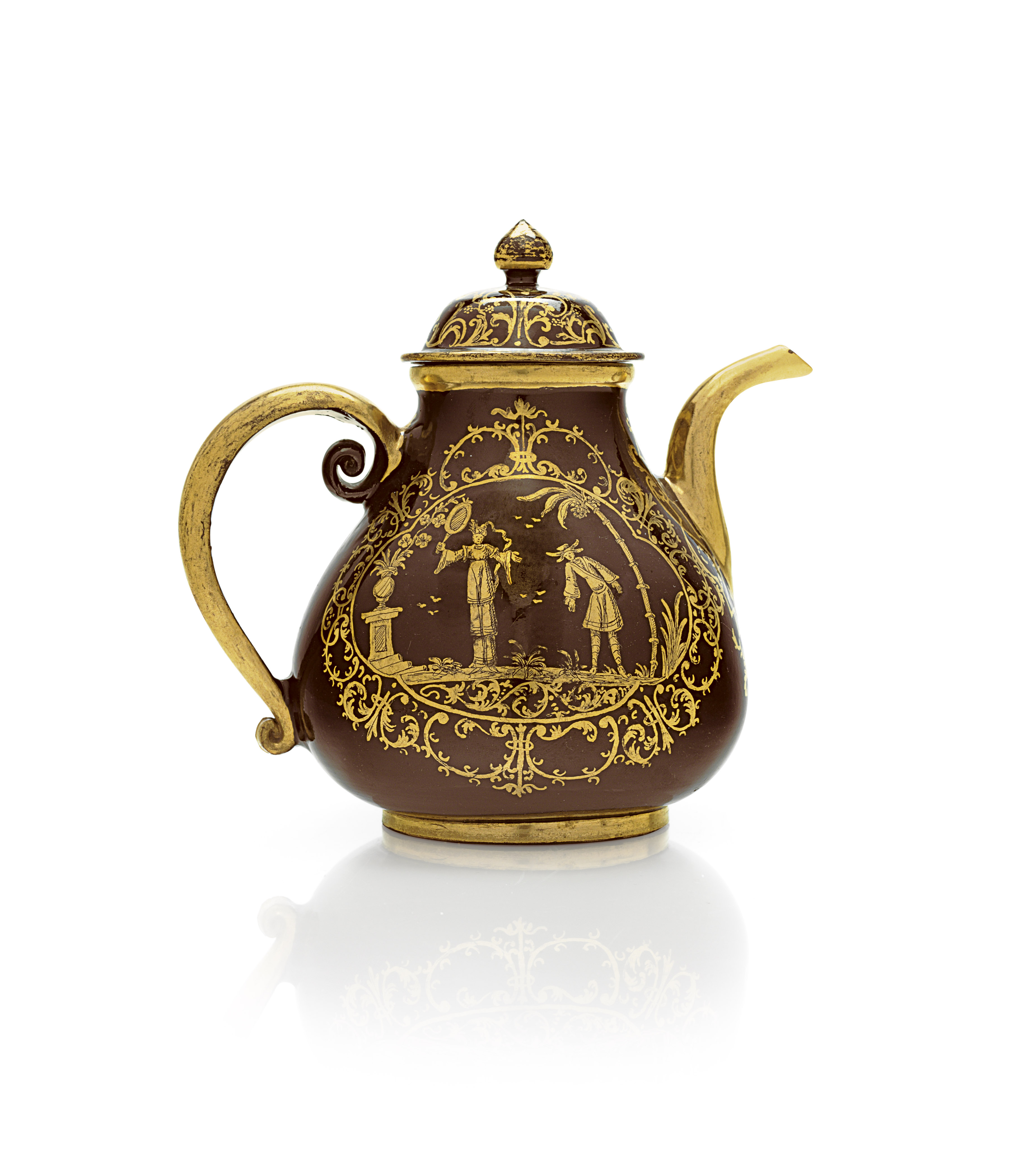 A BAYREUTH GOLDCHINESEN BLACK-GLAZED RED STONEWARE TEAPOT AND COVER