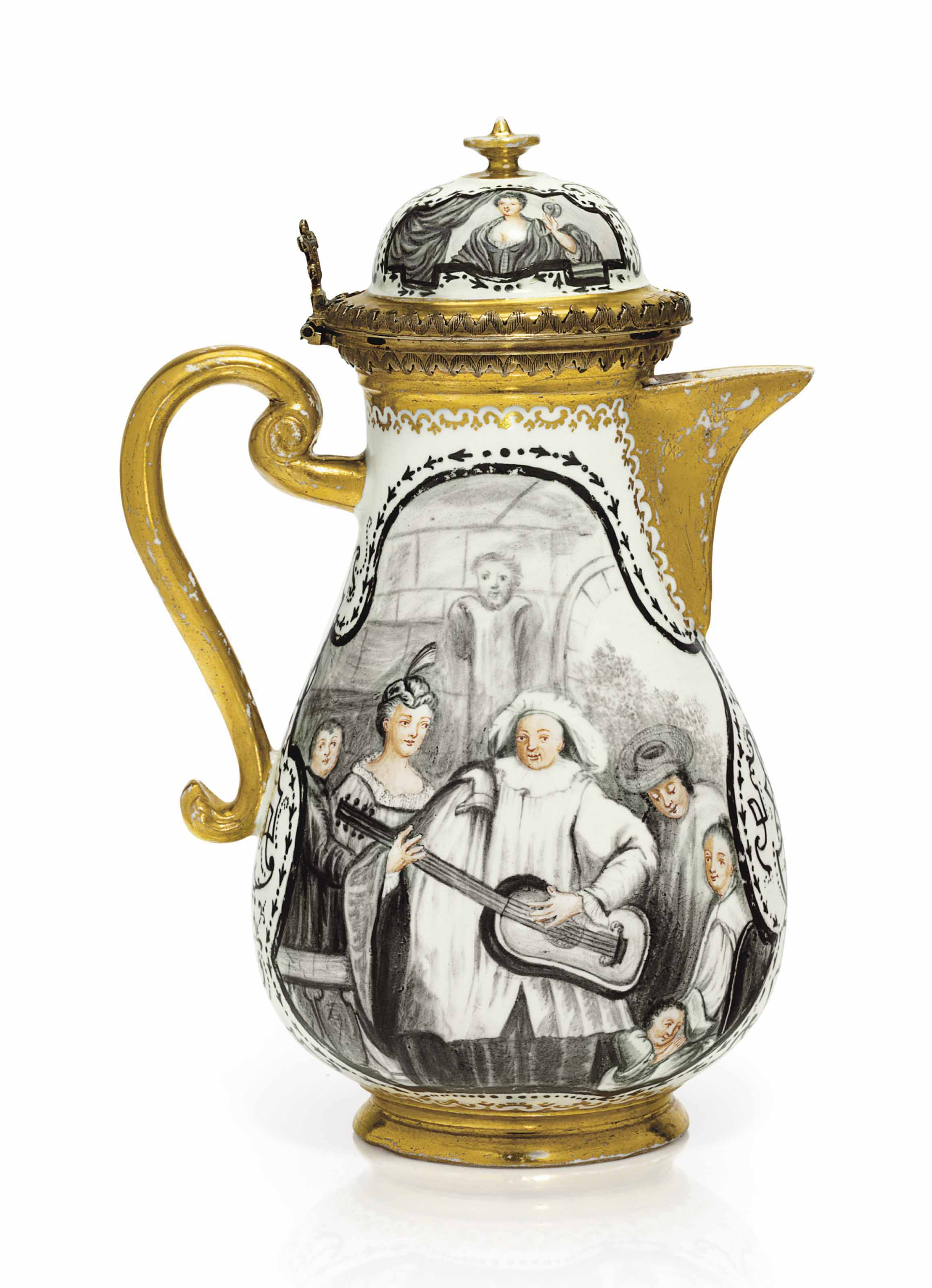 A SILVER-GILT MOUNTED BÖTTGER PORCELAIN HAUSMALEREI COFFEE-POT AND COVER