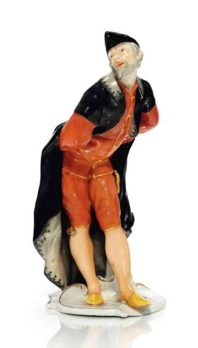 A NYMPHENBURG PORCELAIN COMMEDIA DELL'ARTE FIGURE OF PANTALO
