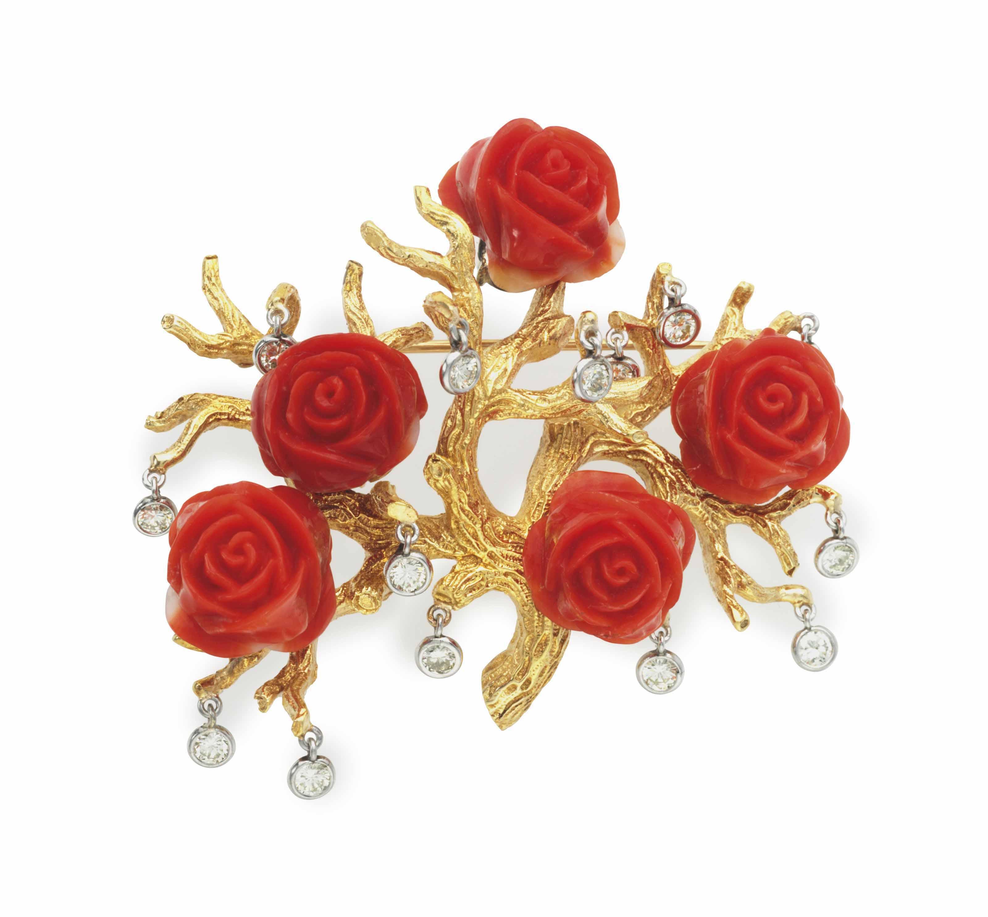 A DIAMOND, CORAL AND GOLD 'ROSE BUSH' PIN