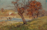 Landscape with figures beside a river's bend