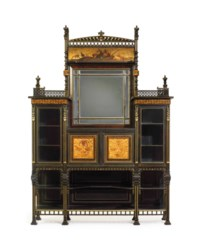 AN AESTHETIC MOVEMENT PARCEL-GILT AND INLAID EBONIZED CHERRYWOOD CABINET