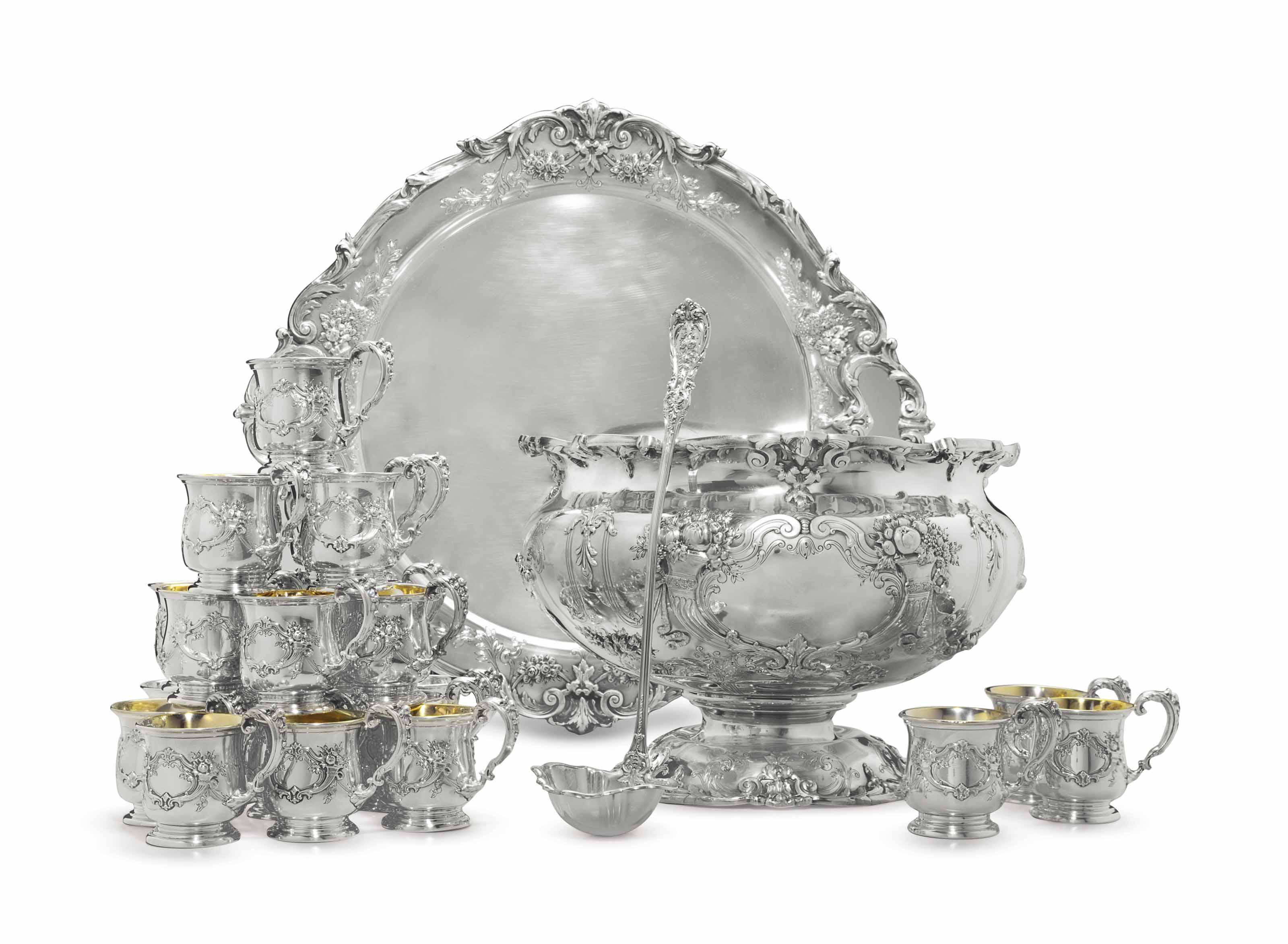 AN IMPRESSIVE SILVER PUNCH BOWL, TRAY AND TWENTY-FOUR MATCHING CUPS