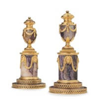 A PAIR OF GEORGE III ORMOLU-MOUNTED BLUE-JOHN CANDLE VASES