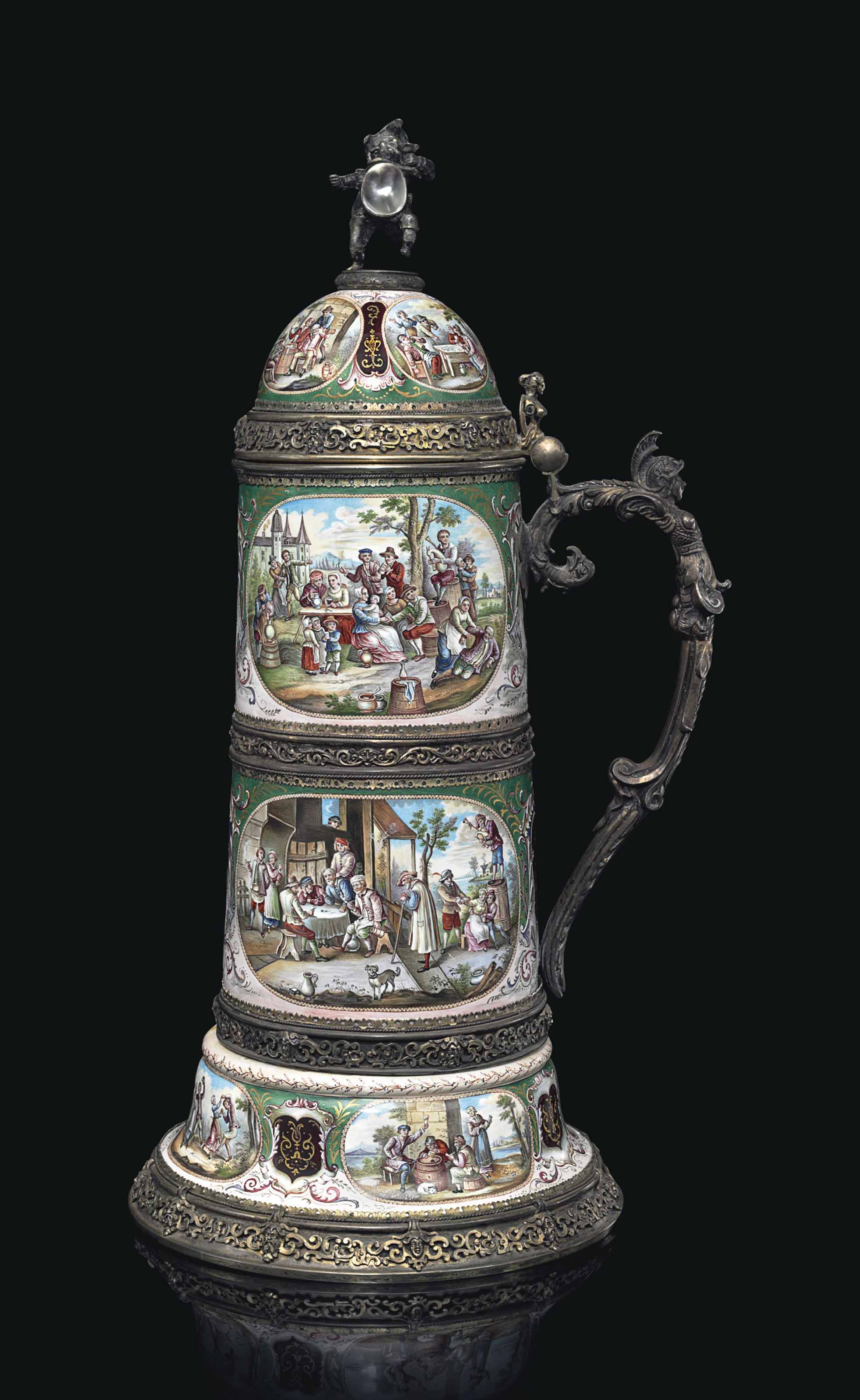 A VIENNESE SILVER, SILVER-GILT, ENAMEL AND MOTHER-OF-PEARL LIDDED TANKARD