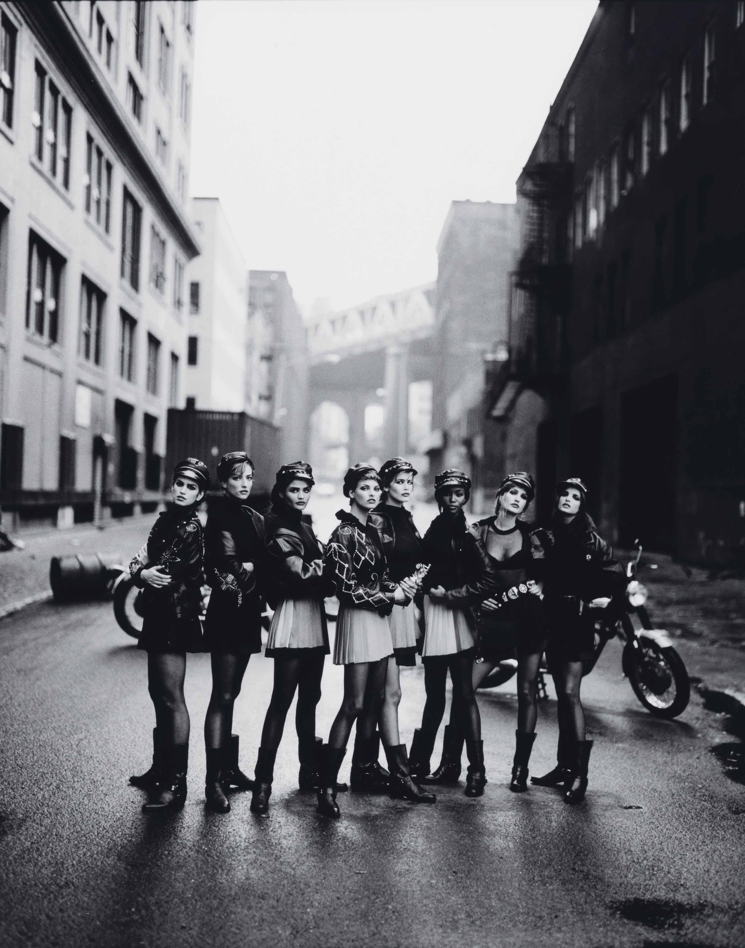 Cindy Crawford, Tatjana Patitz, Helena Chirstensen, Linda Evangelista, Claudia Schiffer, Naomi Campbell, Karen Mulder & Stephanie Seymour, for Vogue, Brooklyn, New York, 1991