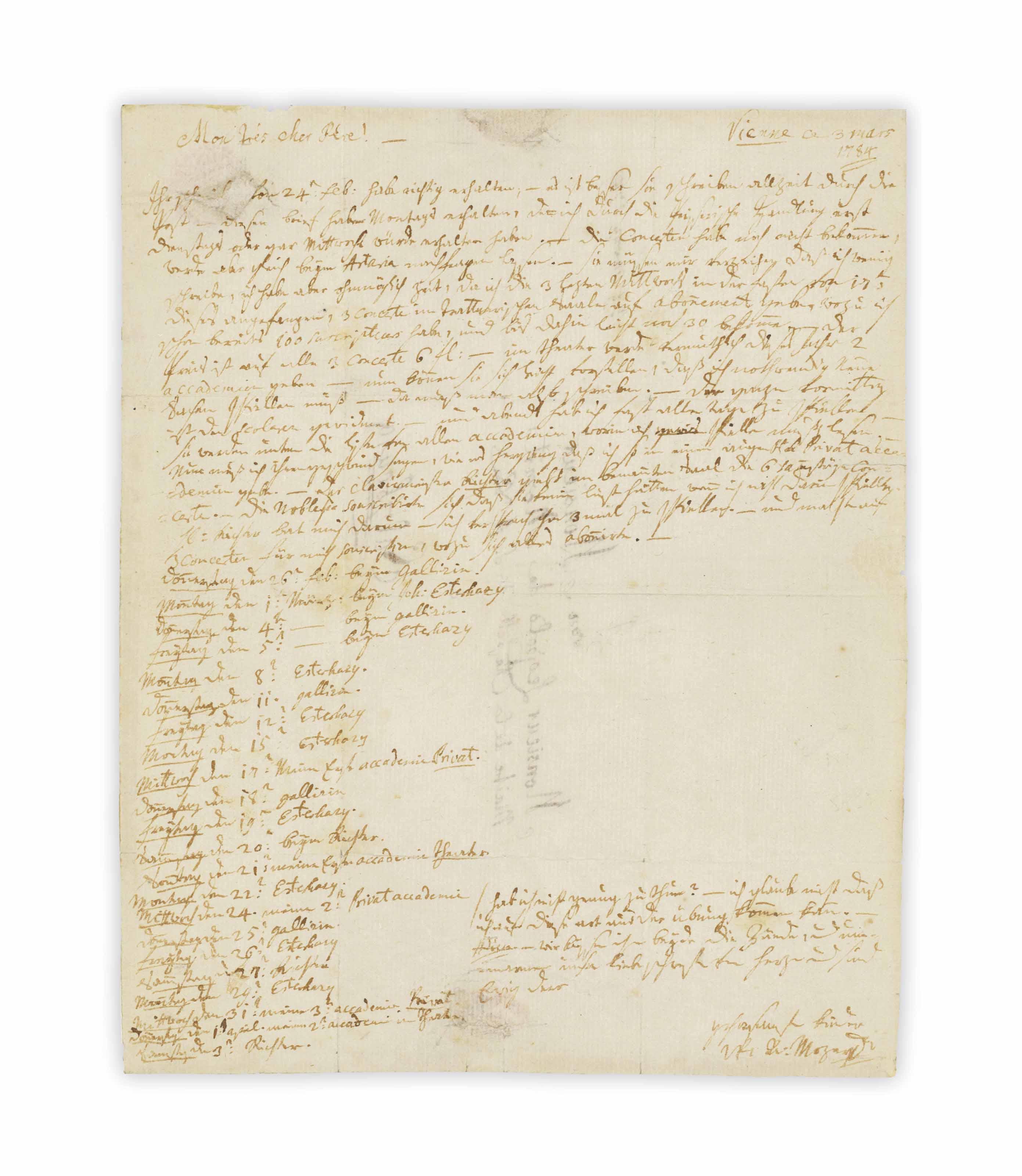 MOZART, Wolfgang Amadeus (1756-1791). Autograph letter Signed ('W: A: Mozart') to his father [Leopold: 'Mon trés chere Pére'], Vienna, 3 March 1784.