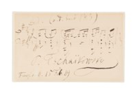TCHAIKOVSKY, Pyotr Ilyich (1840-1893). Autograph musical quotation signed ('P. Tschaïkowsky') from the Orchestral Suite no 3 in G, Op.55, Frankfurt-am-Main, 15 February [18]89.