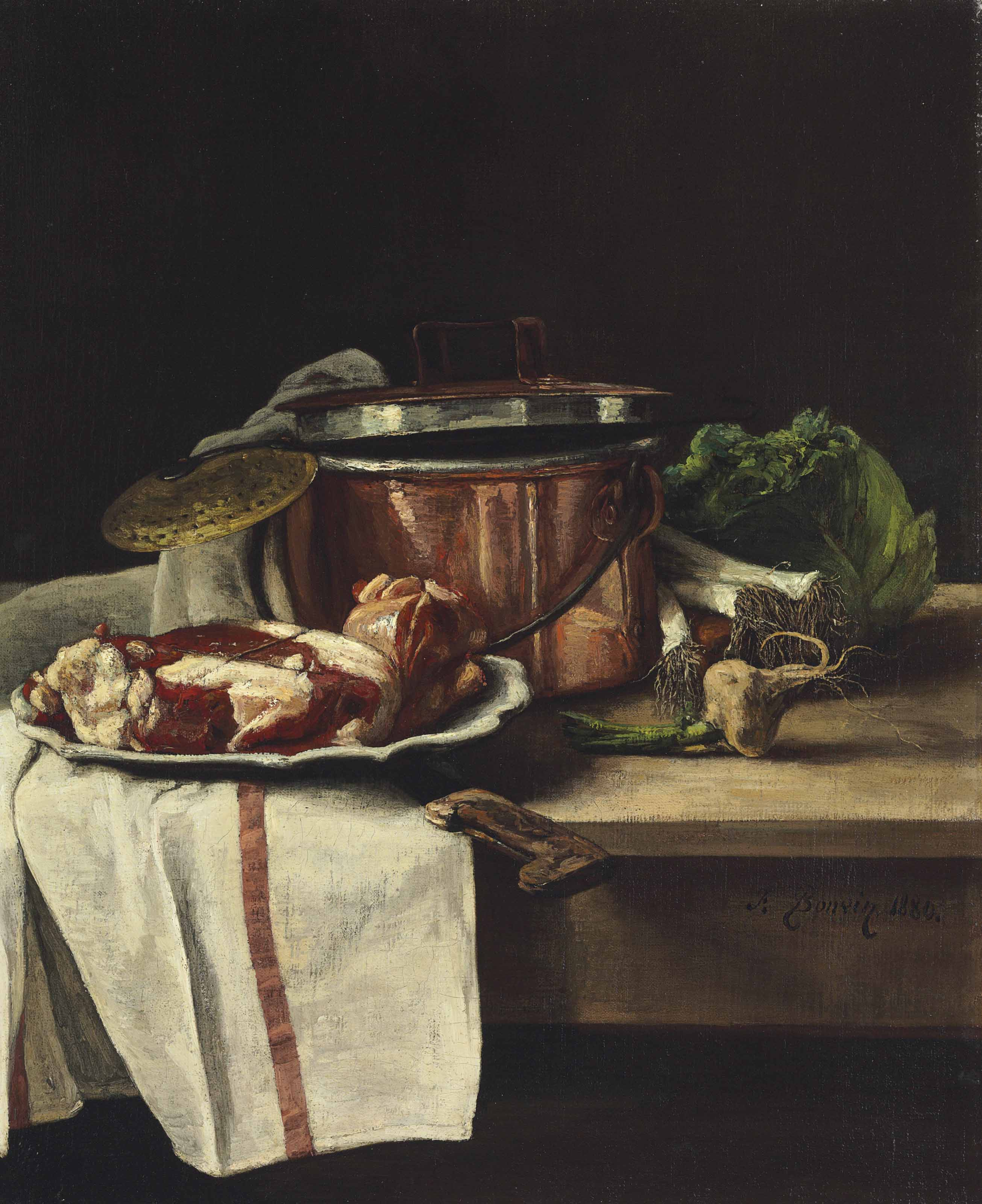 Still Life with Cabbage, Leeks, Garlic and Beef by a Copper Pot
