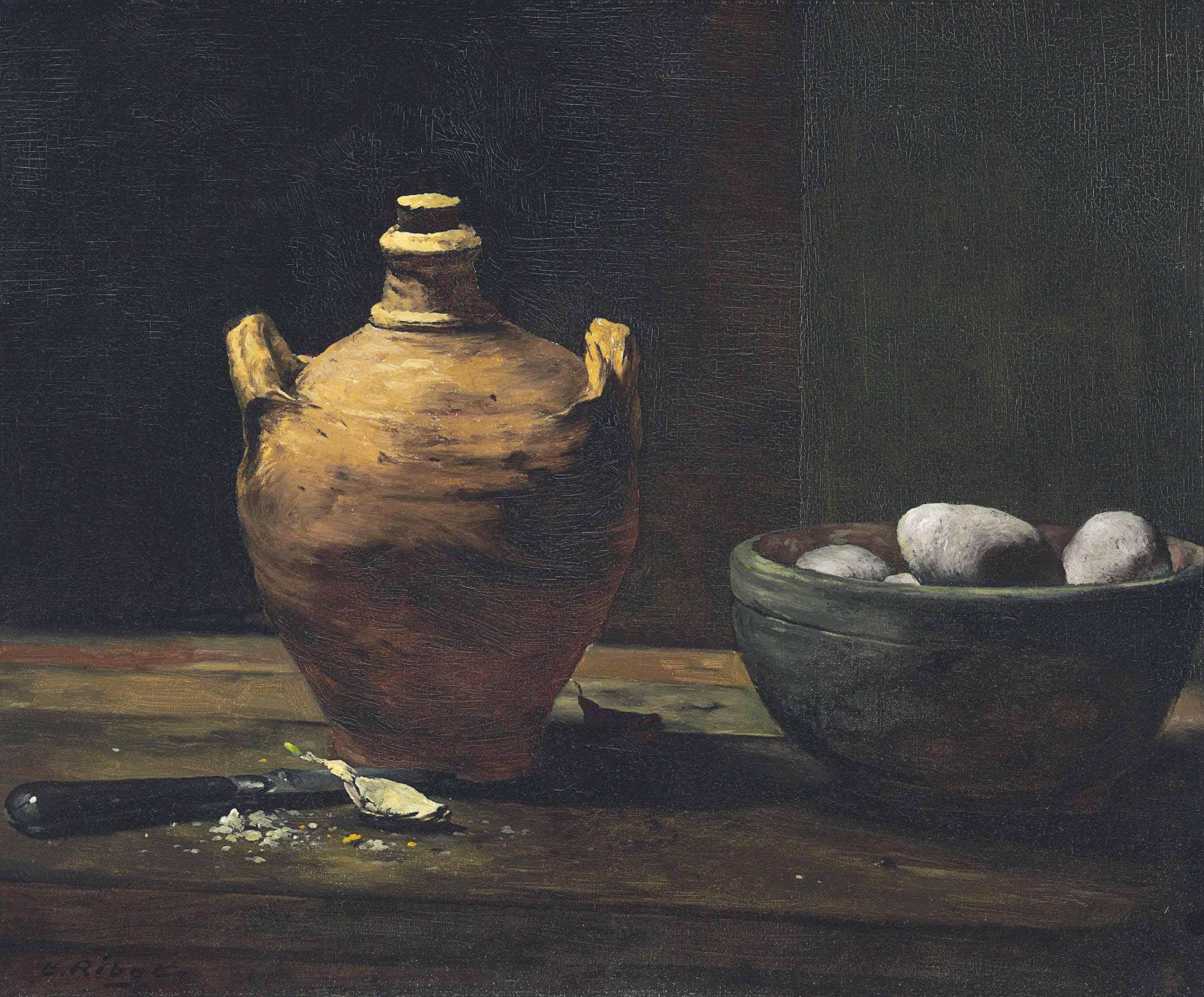 Still Life with Eggs, Garlic, and a Ceramic Jug