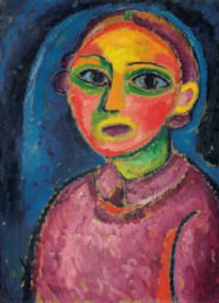 Brustbild einer Frau in rötlichem Gewand